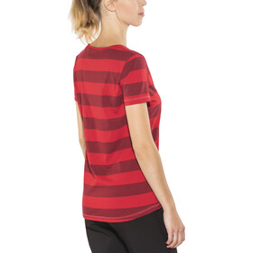 Bergans Bastøy T-shirt Femme, red/burgundy striped/strawberry